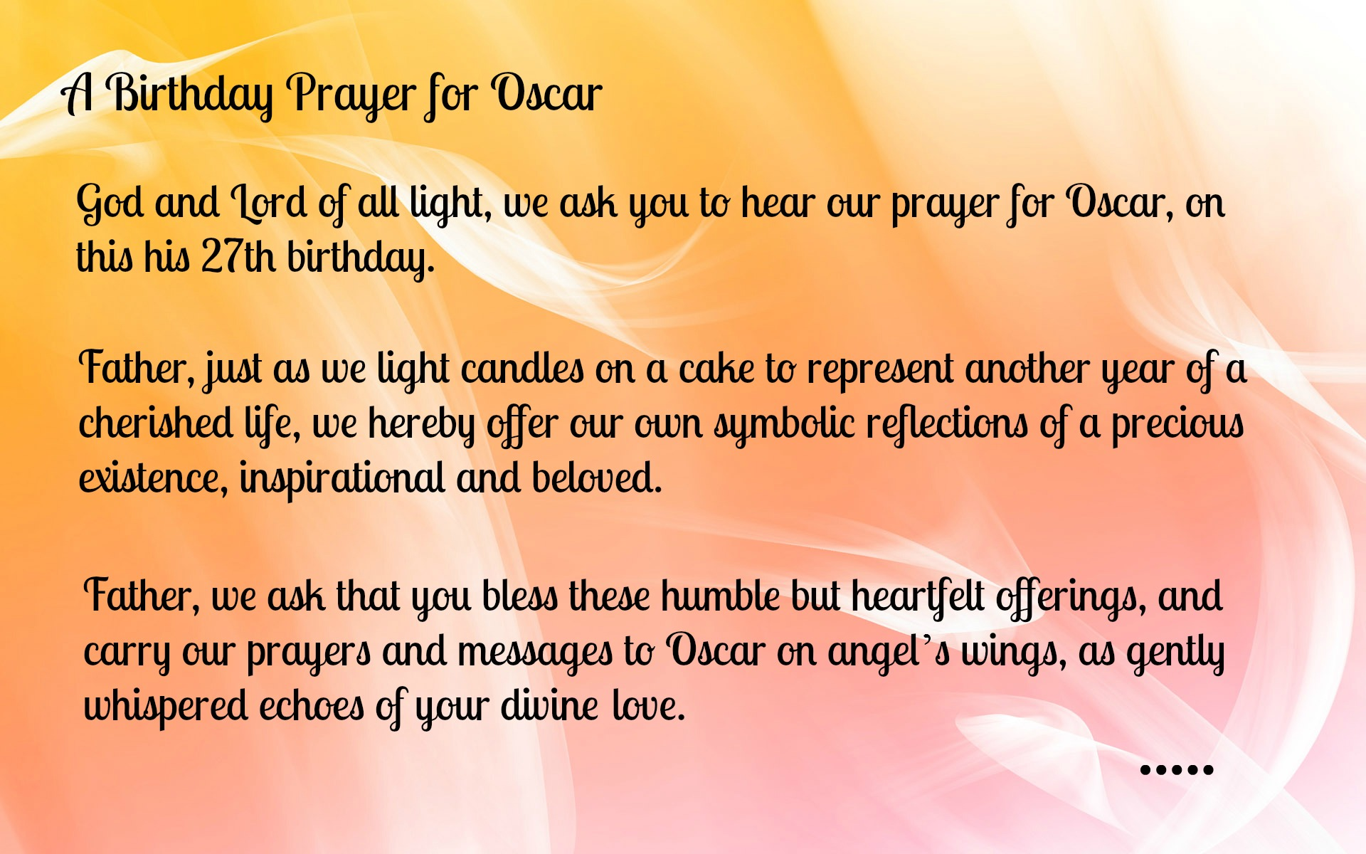 Birthday Prayer For Oscar