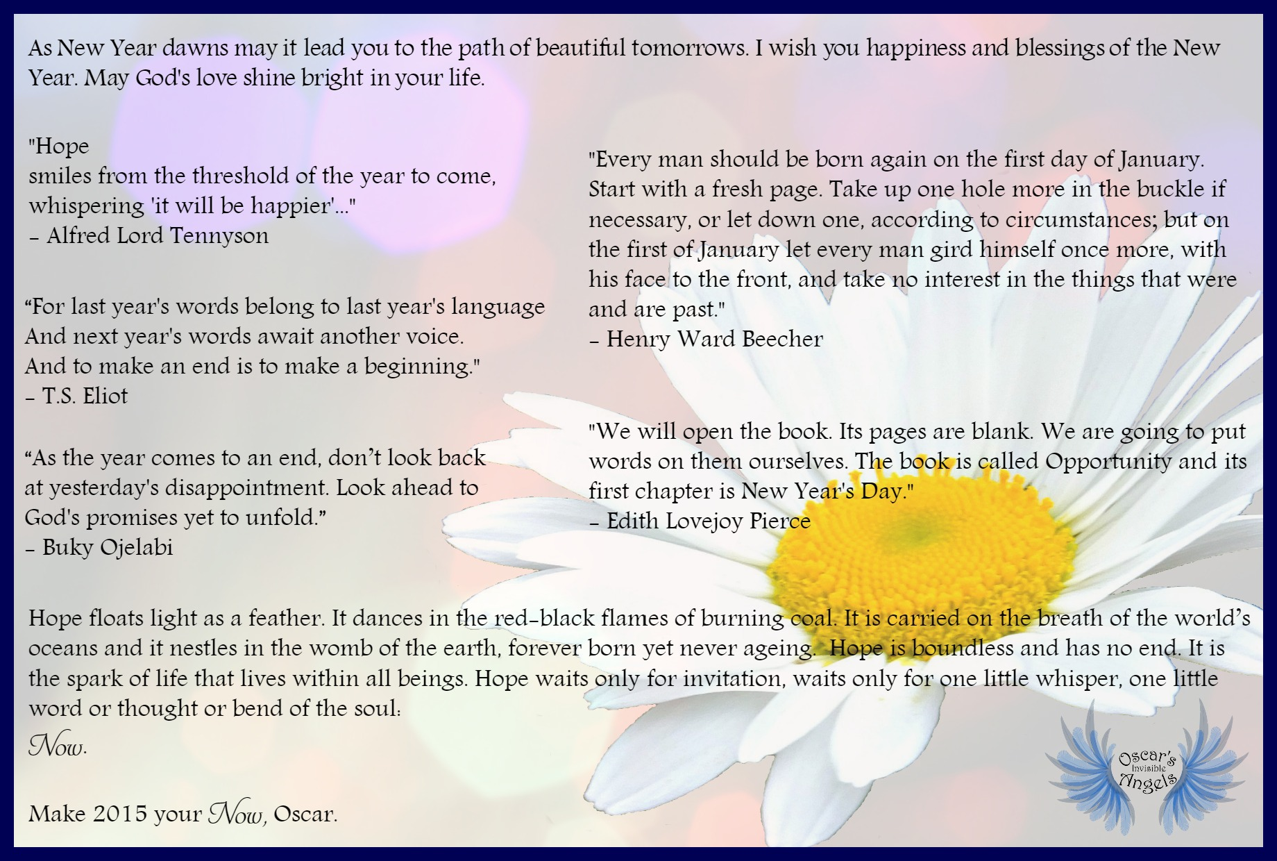 Blessed New Year | SUPPORT FOR OSCAR PISTORIUS